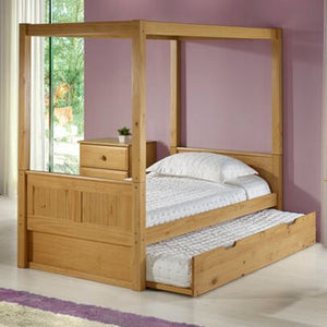 Camaflexi Canopy Bed with Twin Trundle - Panel Headboard - Natural Finish - C821_TR-Canopy Beds-HipBeds.com