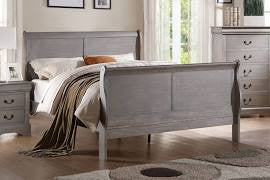ACME Louis Philippe III Eastern King Bed Antique Gray - 25497EK-Sleigh Beds-HipBeds.com