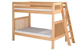 Camaflexi Full over Full Low Bunk Bed with Drawers - Mission Headboard - Lateral Angle Ladder - Natural Finish - C2211L_DR-Bunk Beds-HipBeds.com
