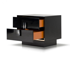 A&X Bellagio - Modern Black Crocodile Lacquer Nightstand-Nightstands-HipBeds.com