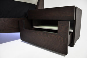 Ceres Modern Brown Oak and Grey Nightstand-Nightstands-HipBeds.com
