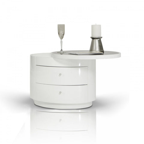 Modrest Symphony - Modern White Round Nightstand-Nightstands-HipBeds.com