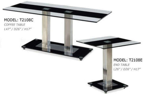 Global Furniture Coffee Table Clear Glass W/Black Stripe-Tables-HipBeds.com