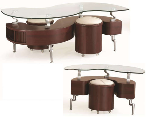 Global Furniture Coffee Table In Mahogany With Cappuccino Cushions-Tables-HipBeds.com