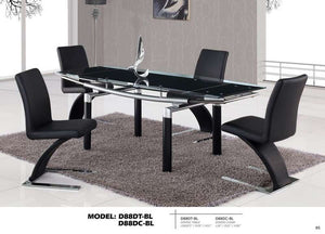 Global Furniture Dining Table, Black Legs, Black Glass-Dining Tables-HipBeds.com