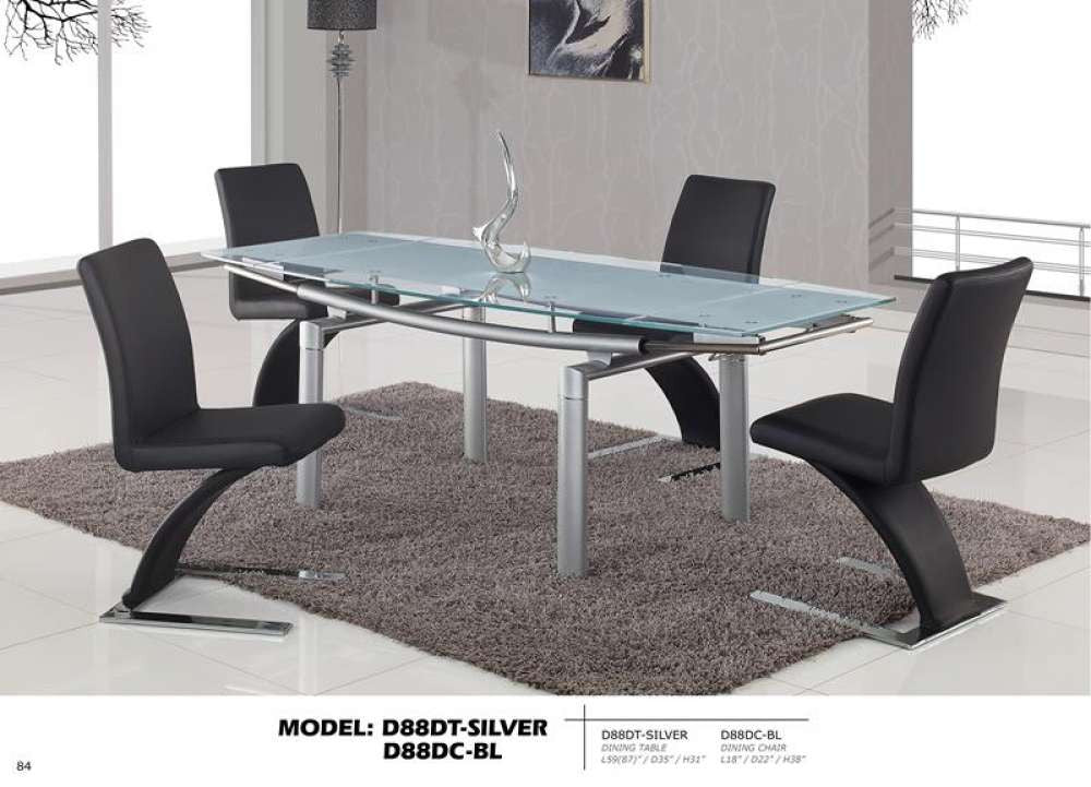 Global Furniture Dining Table Silver Legs Frosted Glass HipBedscom - Frosted glass kitchen table