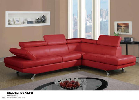 Global Furniture Sectional Qpu-016(Red)-Sofas-HipBeds.com