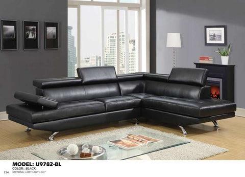 Global Furniture Sectional Qpu011 Black-Sofas-HipBeds.com
