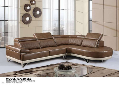 Global Furniture 2Pc Sectional Pluto Walnut/Pluto Pearl-Sofas-HipBeds.com
