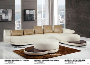 Global Furniture Sectional + End Table Blanche Milky/Blanche Ivory-Tables-HipBeds.com