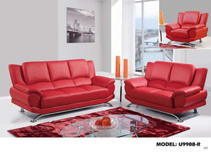 Global Furniture 9908 Bonded Leather And Leather Match Love Seat In Red With Chrome Legs-Sofas-HipBeds.com
