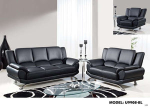 Global Furniture 9908 Bonded Leather And Leather Match Sofa In Black With Chrome Legs-Sofas-HipBeds.com