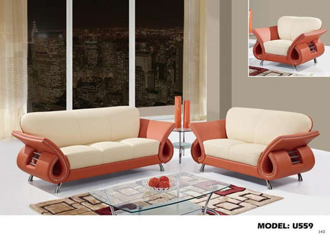 Global Furniture 559 Leather And Leather Match Chair In Beige And Orange-Chairs-HipBeds.com