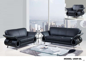 Global Furniture 559 Leather And Leather Match Love Seat In Black-Sofas-HipBeds.com