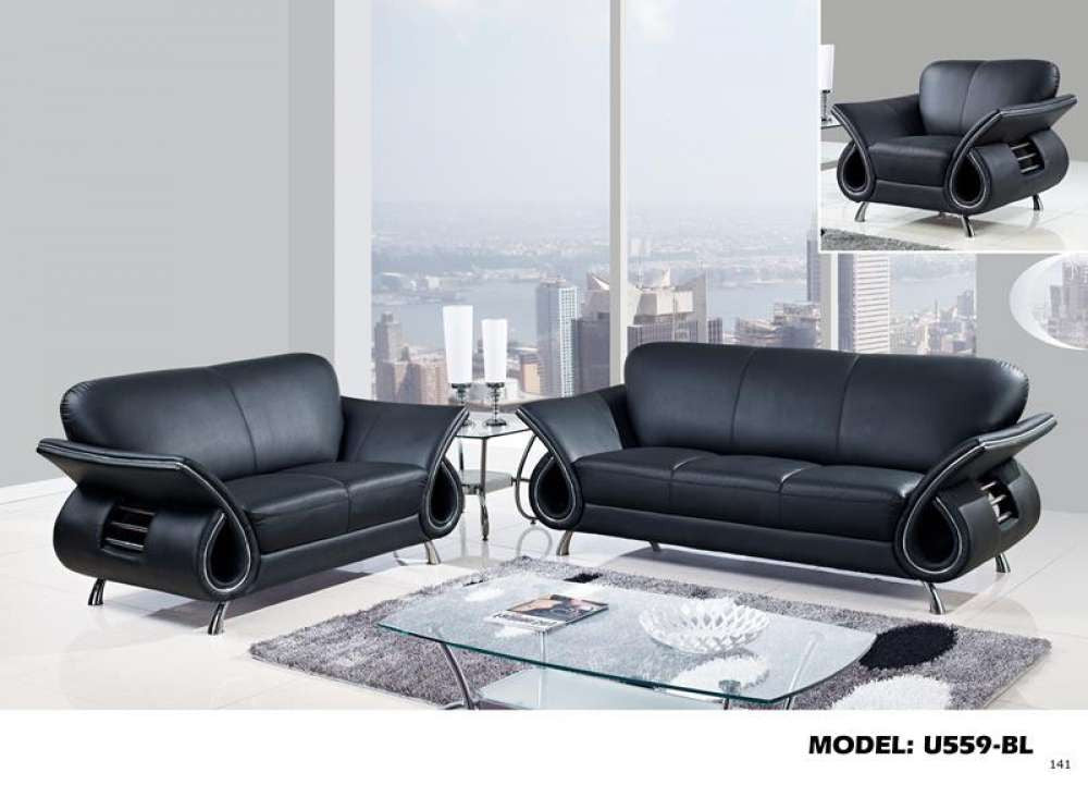 Global Furniture 559 Leather And Leather Match Sofa In Black ...