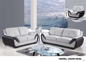 Global Furniture Loveseat Grey/Bl # Sl120606-1B/Pu209-3-Sofas-HipBeds.com
