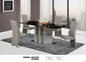 Global Furniture Dining Table Warm Grey & Dark Brown-Dining Tables-HipBeds.com