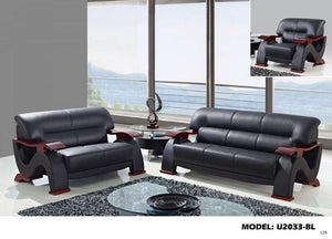 Global Furniture Loveseat Black #7002-Sofas-HipBeds.com