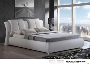 Global Furniture Queen Bed White Pu-Beds-HipBeds.com