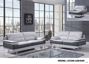 Global Furniture Sofa Natalie Lt Grey/Dk Grey-Sofas-HipBeds.com