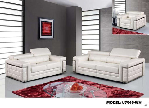 Global Furniture Loveseat Blanche White-Sofas-HipBeds.com