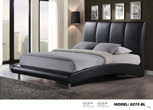 Global Furniture Queen Bed Black Pu-Beds-HipBeds.com