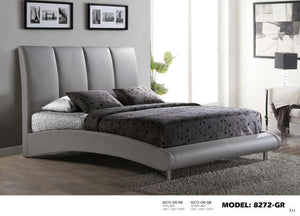 Global Furniture Queen Bed Grey Pu-Beds-HipBeds.com