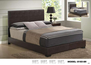 Global Furniture Queen Bed Brown Pu-Beds-HipBeds.com
