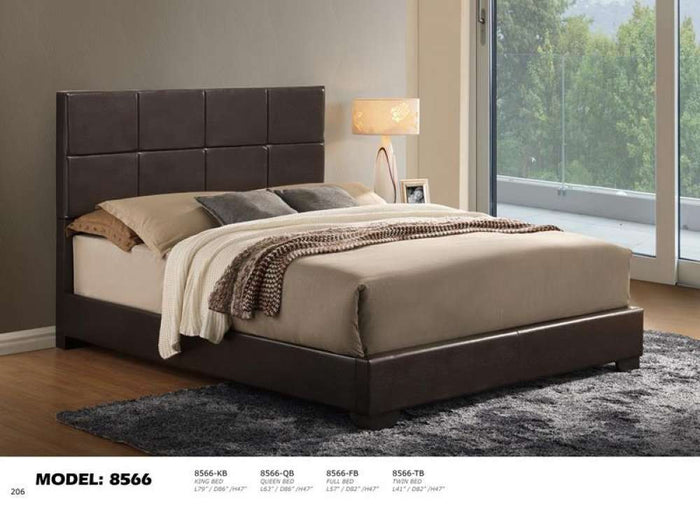 Global Furniture King Bed Brown Gloss 7089