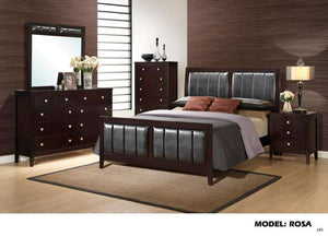 Global Furniture Queen Bed Antique Black/Black Pu-Beds-HipBeds.com