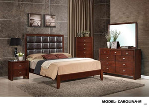 Global Furniture King Bed Brown Cherry/Brown Pu-Beds-HipBeds.com