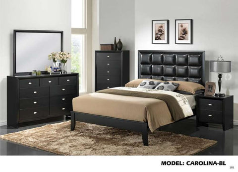 Global Furniture King Bed Black/Black 7089-Beds-HipBeds.com
