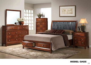 Global Furniture Queen Bed Oak-Beds-HipBeds.com