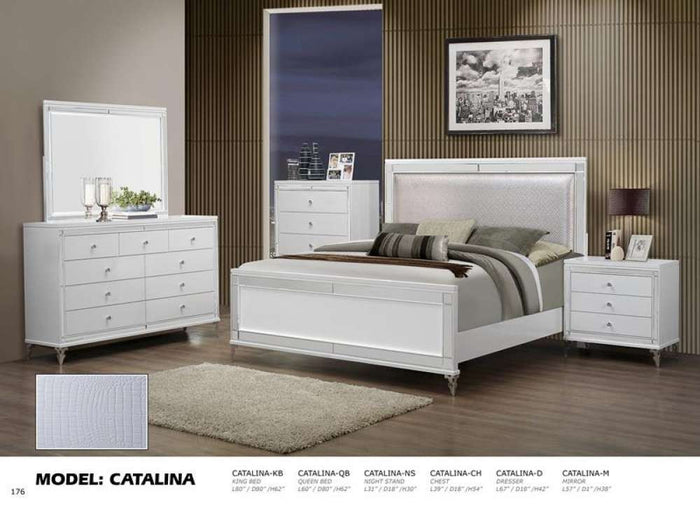 Global Furniture King Bed Metallic White