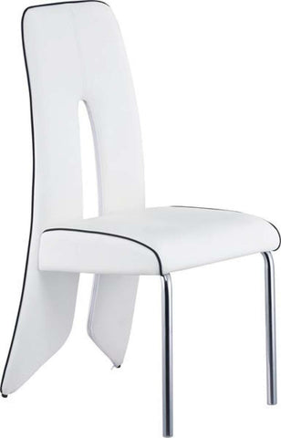 Global Furniture D1528 Series White Black Trim Dining Chair-Dining Chairs-HipBeds.com