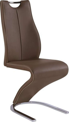 Global Furniture Dining Chair 5076-08 Brown Pu W/ Capp Trim-Chairs-HipBeds.com