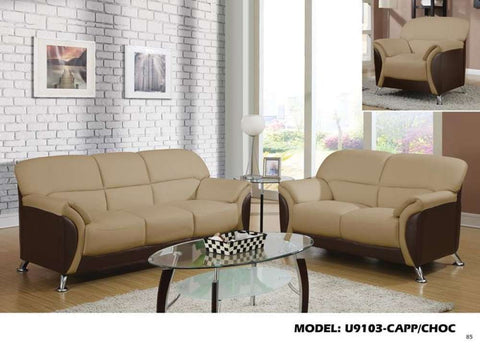 Global Furniture Sofa Pvc #Cappuccino/Chocolate-Sofas-HipBeds.com