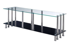 Global Furniture Tv Stand Clear & Black-Entertainment Centers-HipBeds.com