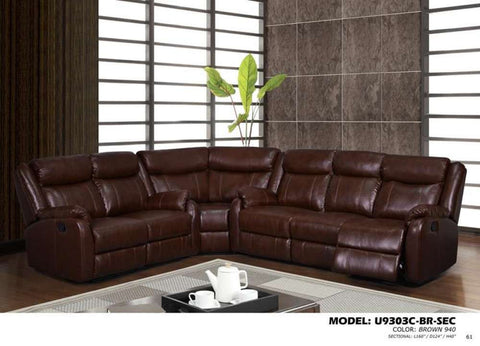 Global Furniture 3Pc Sectional Brown 940-Sofas-HipBeds.com