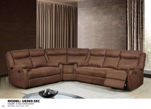Global Furniture 3Pc Sectional S-022 Chocolate-Sofas-HipBeds.com