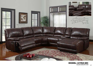 Global Furniture 6 Pcs Sectional Brown 940-Sofas-HipBeds.com