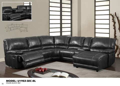 Global Furniture Sectional Black 960-Sofas-HipBeds.com