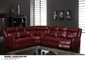 Global Furniture 3Pc Sectional Burgundy #Qpu 019-Sofas-HipBeds.com