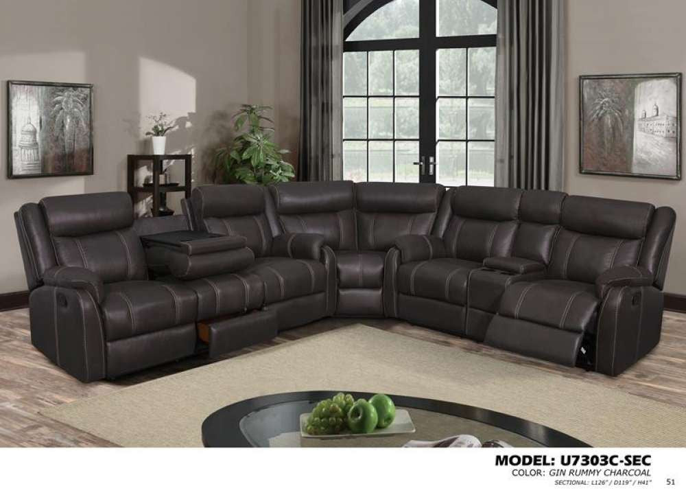Global Furniture 3Pc Sectional Gin Rummy Charcoal Sofas HipBeds.com