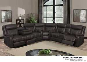 Global Furniture 3Pc Sectional Gin Rummy Charcoal-Sofas-HipBeds.com