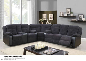 Global Furniture Sectional Jasmine Mouse(Dtc87-11)/Qpu011-Sofas-HipBeds.com