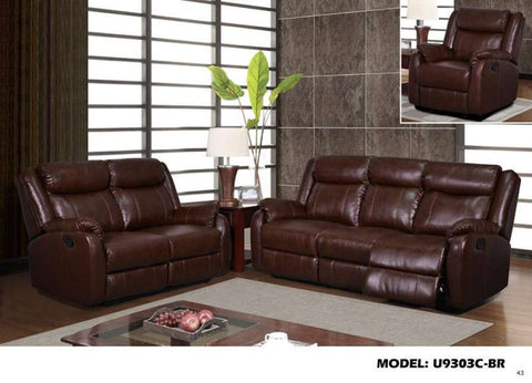 Global Furniture Reclining Sofa W/Table & Drawer Brown 940-Sofas-HipBeds.com