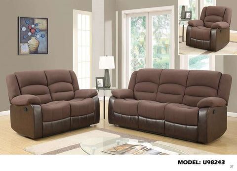 Global Furniture Sofa Brown/Dark Brown # 7395/7018-Sofas-HipBeds.com