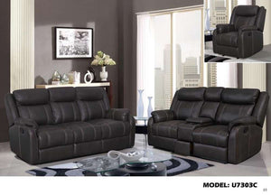 Global Furniture Console Reclining Loveseat W/Drawer Gin Rummy Charcoal-Sofas-HipBeds.com