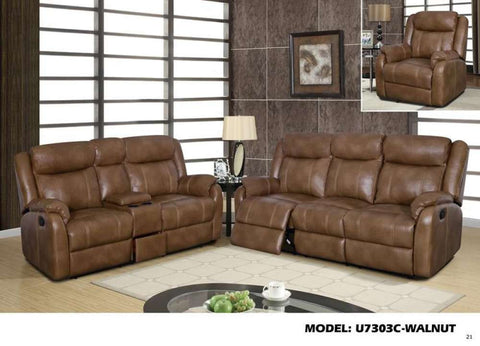 Global Furniture Recling Sofa W/ Drop Down Table&Drawer Blanche Walnut (Dtp672-29)-Sofas-HipBeds.com